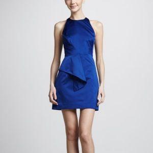 Milly blue satin peplum dress